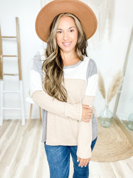 Forever Days Oatmeal Color Block Top