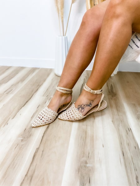 Pink Weaved Ankle Buckle Sandal
