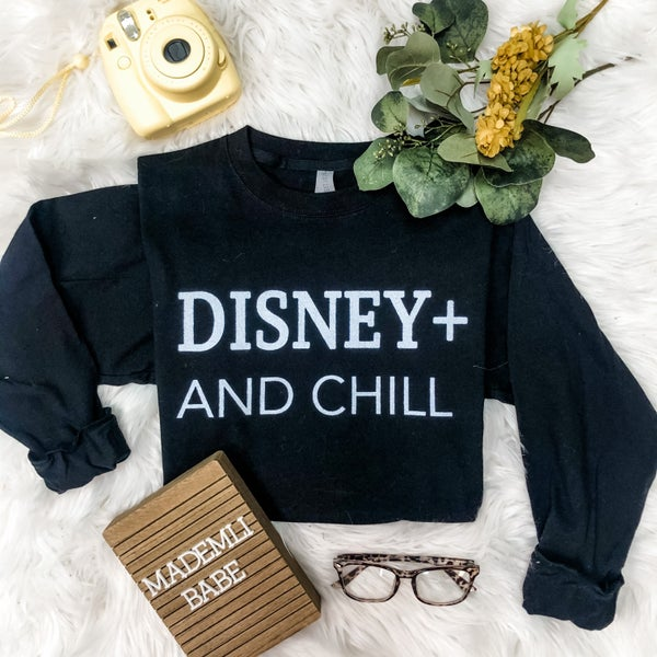 DISNEY PLUS AND CHILL LONG SLEEVE GRAPHIC TEE