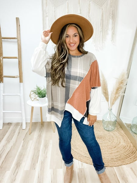Have It Your Way Taupe Plaid Poncho Top