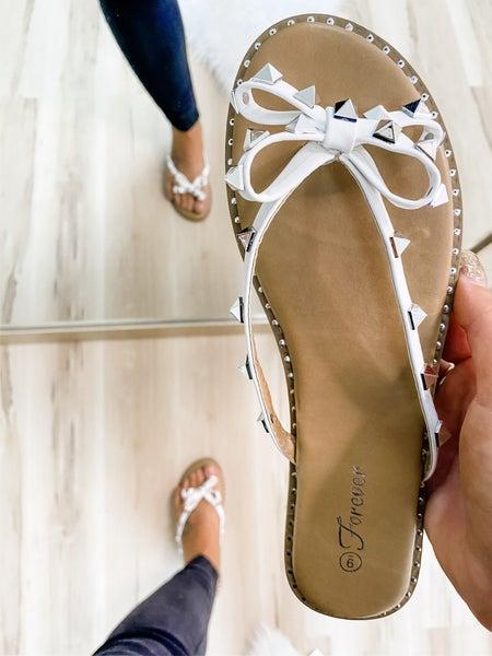 White Studded Bow Sandal