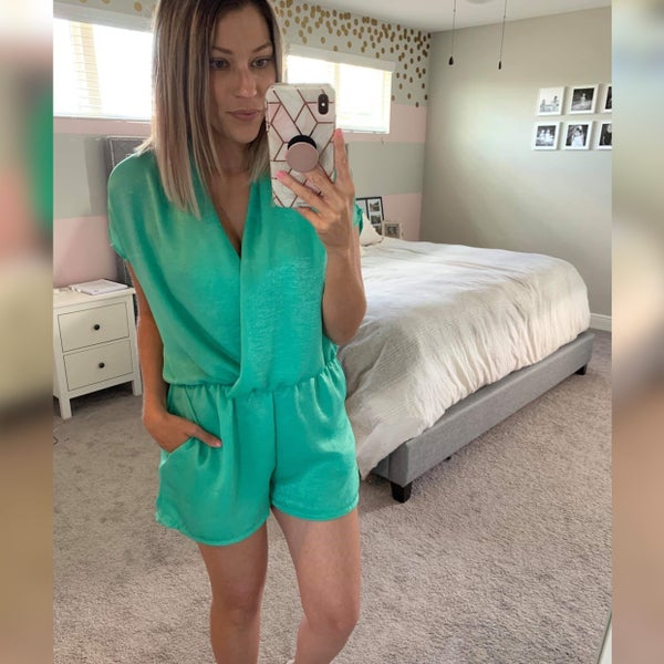MINT SHORT SLEEVE WOVEN ROMPER WITH WRAP FRONT DETAIL