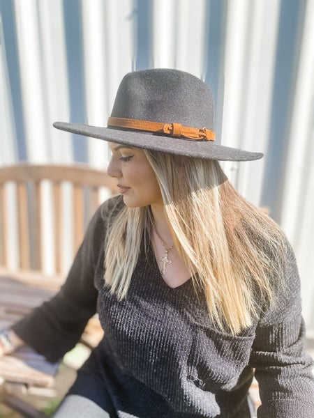 Black Wide Brim Panama Hat