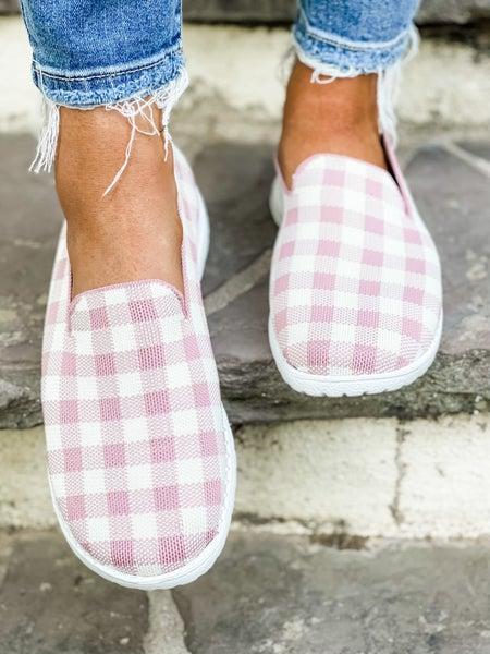 Blush And White Checkered Slip On Shoe