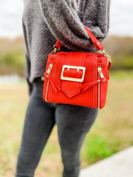 Red Stitched Point Dandy Tote Bag