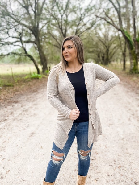 Just One Look Taupe Lightweight Cardigan