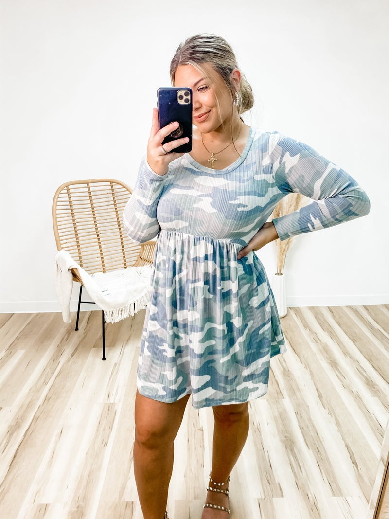 Hard To Miss Me Muted Camo Dress