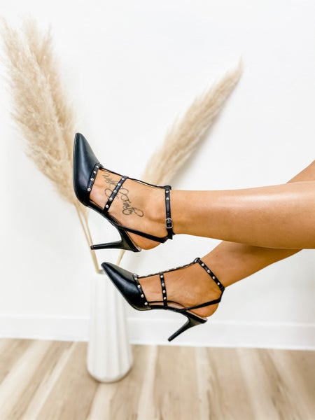 Black Pointed Toe Studded Caged Pumps