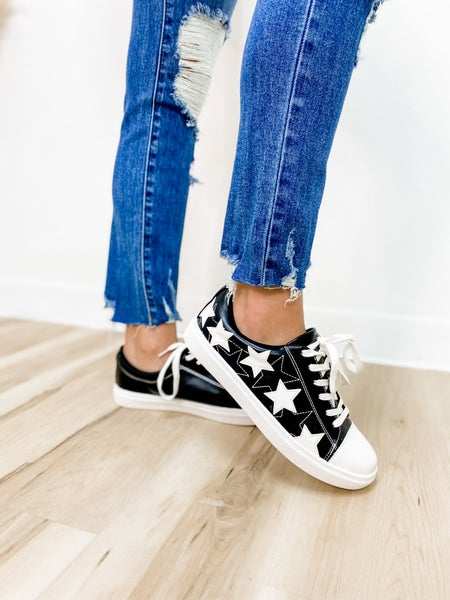 Stay Trendy Black Star Tennis Shoe