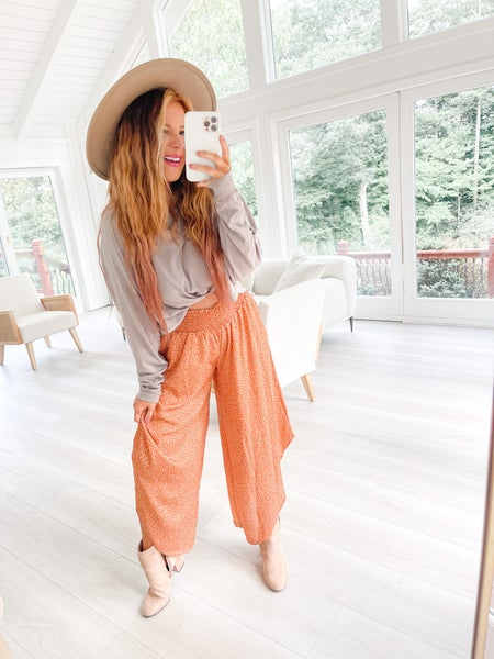 Add Some Spice Rust Floral Print Wide Leg Pants