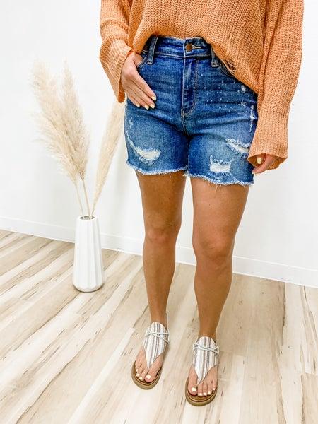 Don't Stress Bleach Splash Judy Blue Shorts