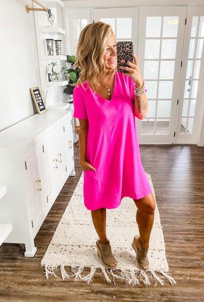 Meet Me Later Pink Short Sleeve Dress