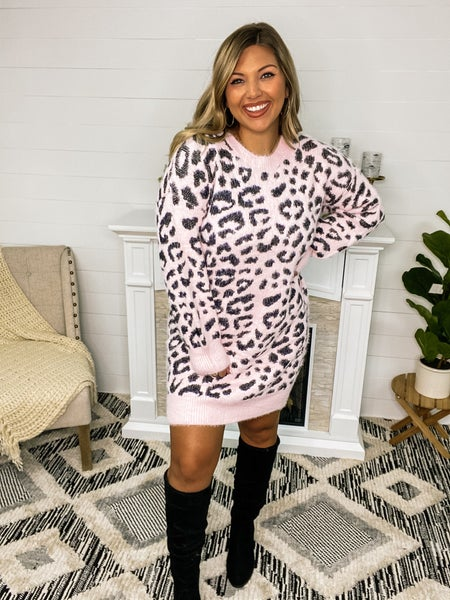 Making Me Blush Leopard Sweater Dress