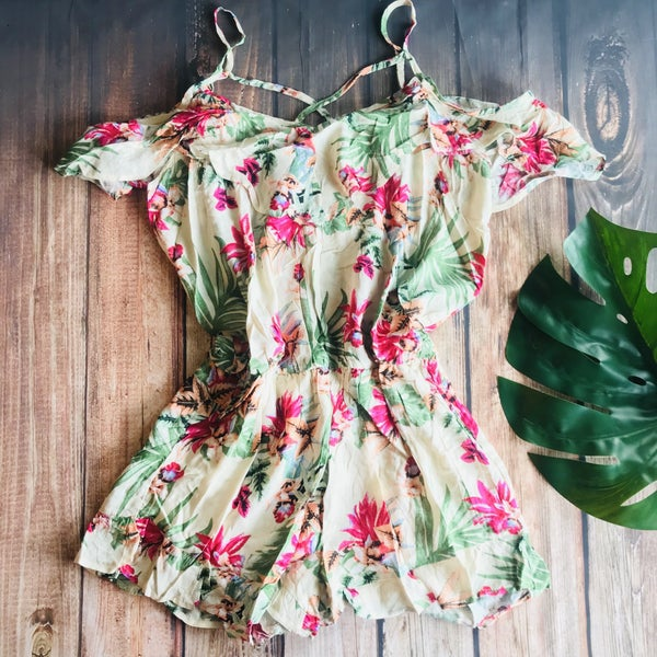 SAND AND FUCHSIA FLORAL OFF SHOULDER ROMPER