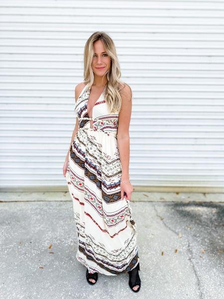 From Now On Beige Chevron Print Halter Dress