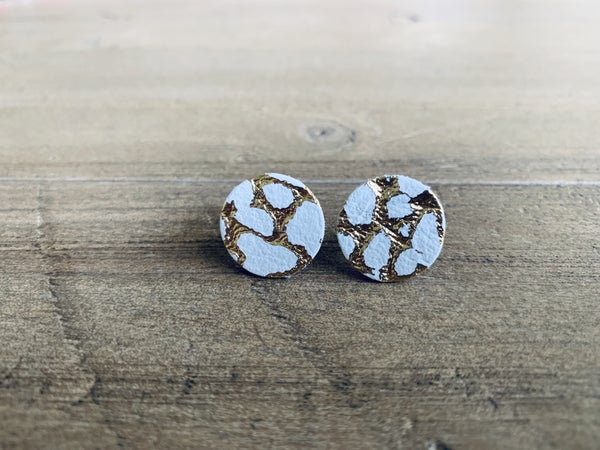 White and gold stud earrings