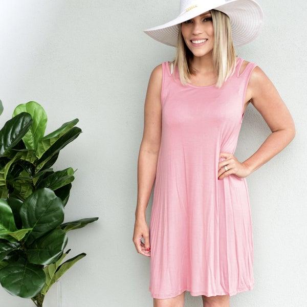 ROSE PINK, OPEN SHOULDER  DRESS