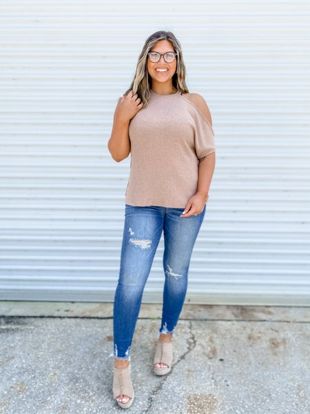 POL Late Night Fun Sand Cold Shoulder Top