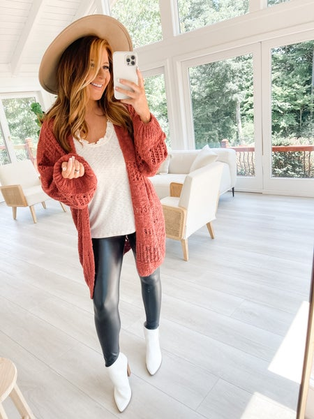 Open To Suggestions Oversized Rust Cardigan