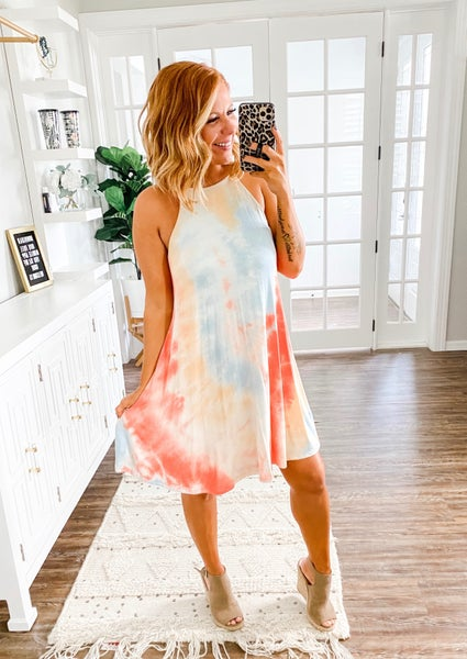 Never Have I Ever Coral Tie-Dye Dress