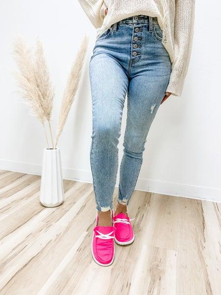 Skip The Small Talk Light High Rise Skinny Crop Jeans
