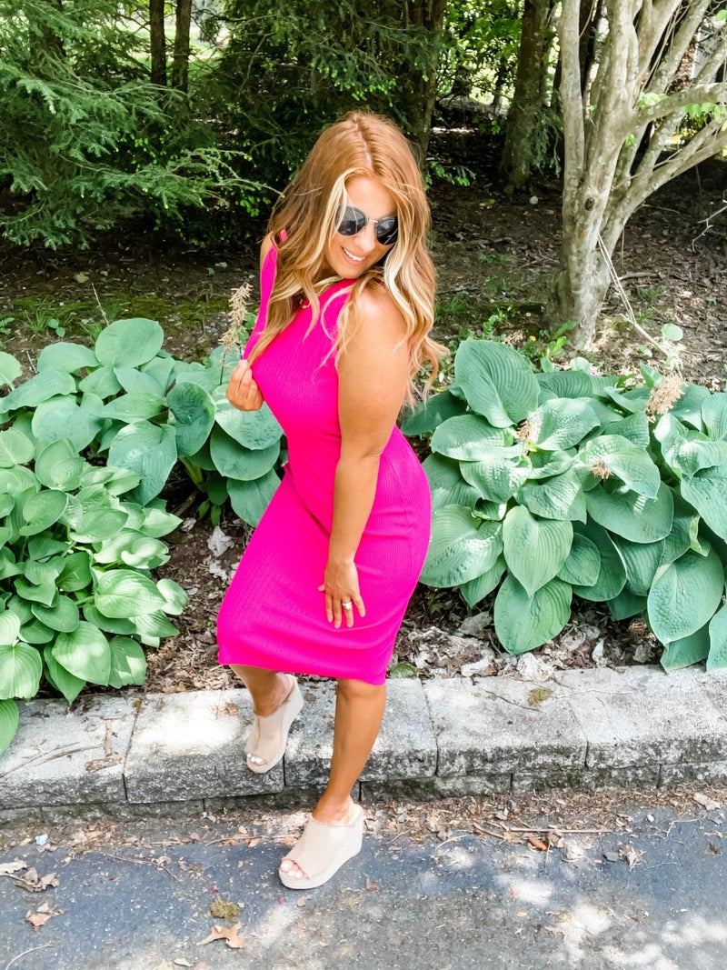 How Fitting Hot Pink Ribbed Knit Dress