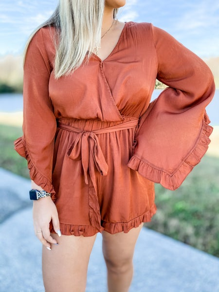 Saved By The Bell Sleeve Rust Romper