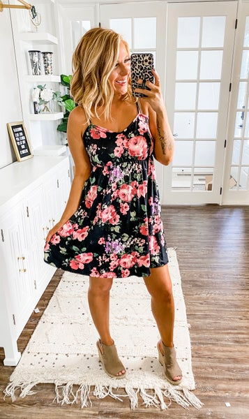 Between Moments Black Floral Mini Dress