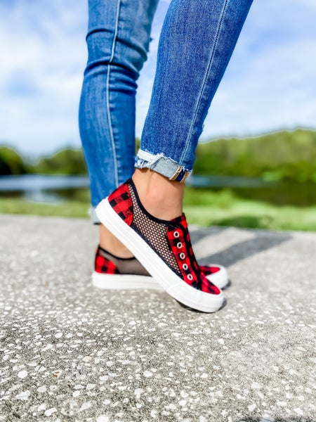 Red And Black Checkered Net Slip On Tennis Shoe