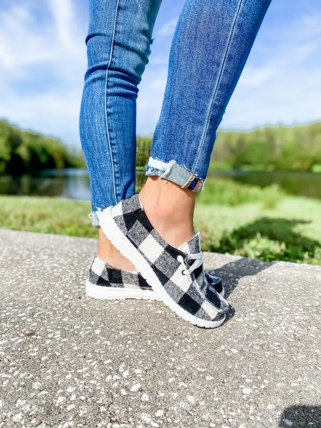 White And Black Checkered Slip On Shoe