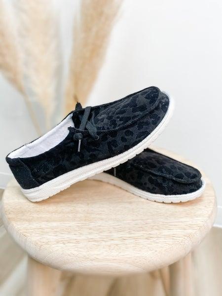 Black Leopard Slip On Shoe