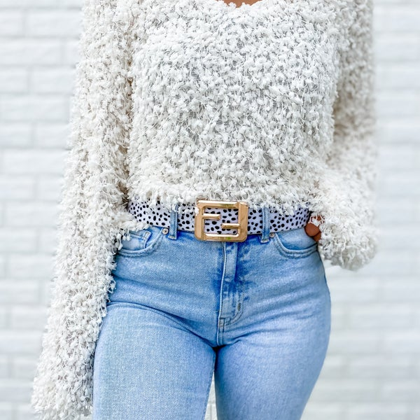 White Faux Fur Buckle Belt