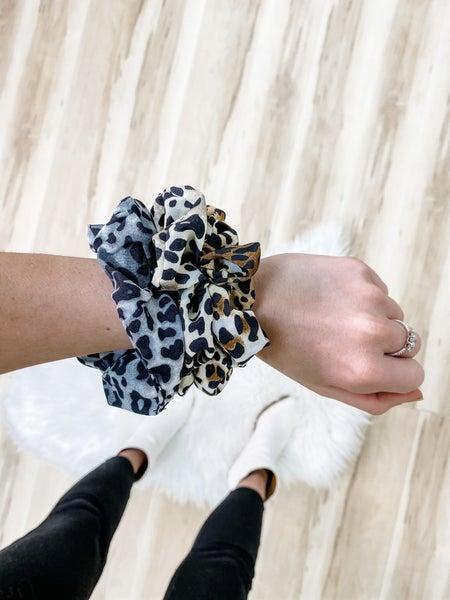 Leopard Hair Scrunchies 3 Pack