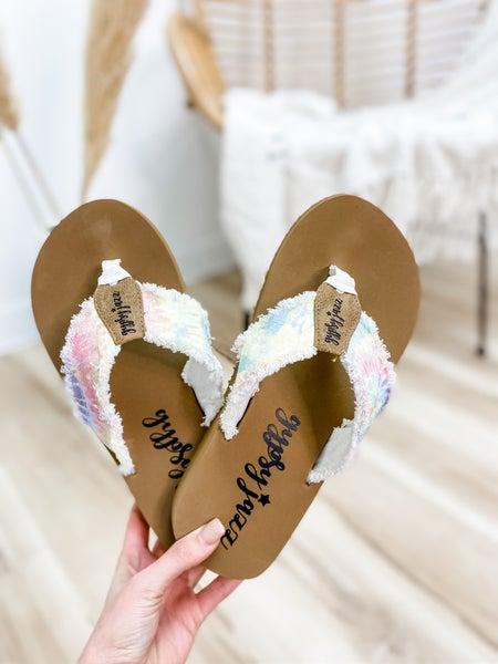 Pastel Multi Color Frayed Flip Flop
