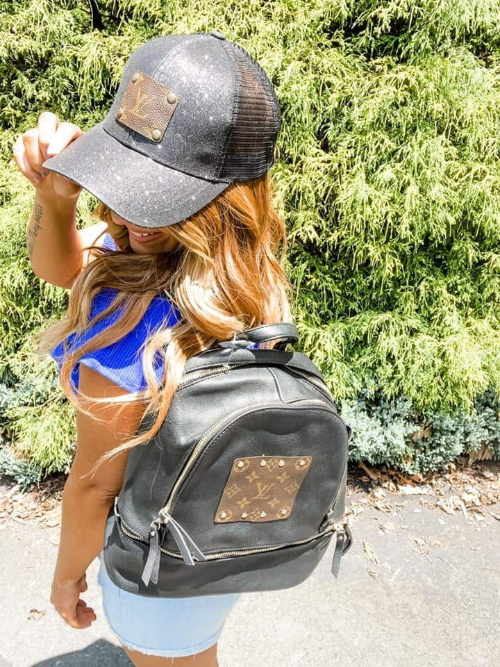 Upcycled LV Black Backpack