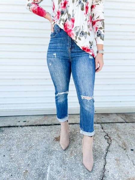 Stop Staring Distressed Relaxed Jeans
