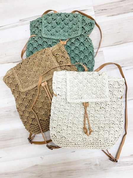 Crocheted Straw Backpack