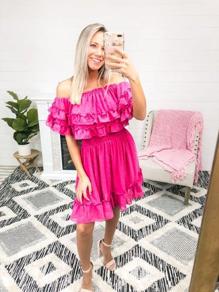 Call Me Materialistic Fuchsia Ruffled Dress