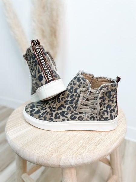 Leopard High Top Zip Up Shoe