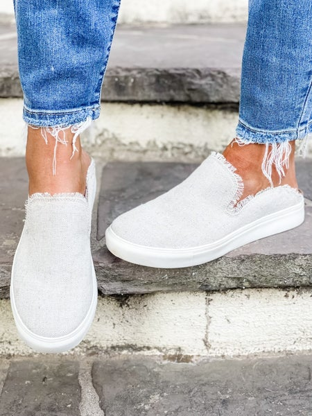 Natural Frayed Backless Slip On Shoe