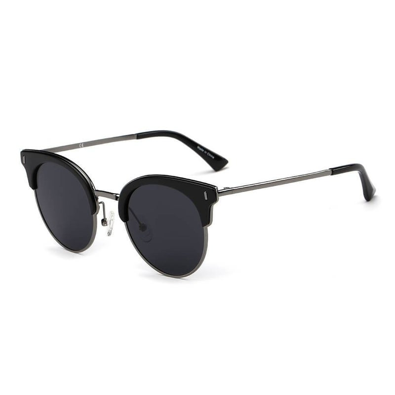 Half Frame Round Cat Eye Polarized Sunglasses