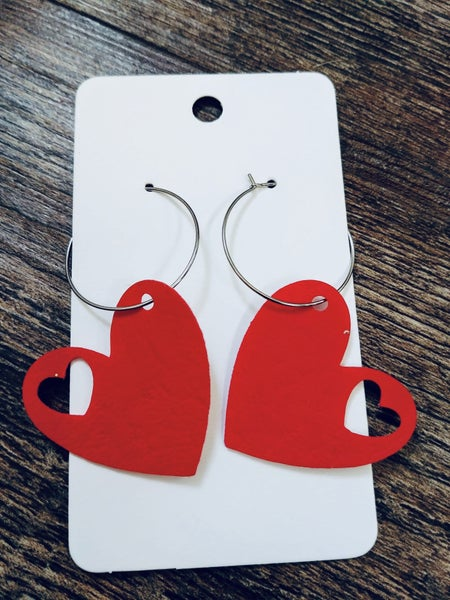 HOOP HEARTS RED EARRINGS