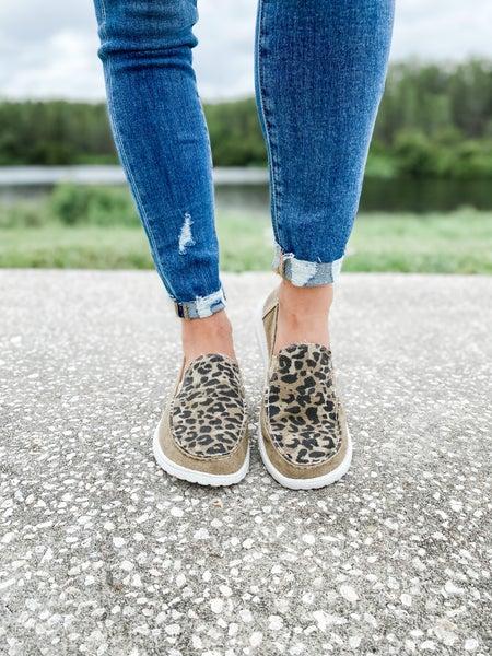 Tan Leopard Print Slip On Shoe