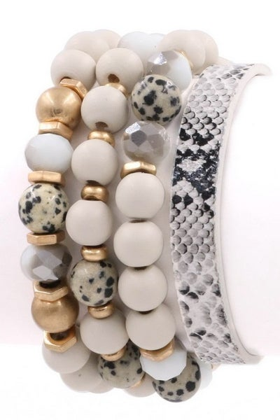White Assorted Bead Bracelet Set