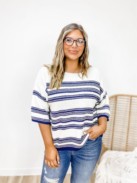 Some Stripe Of Way Navy Knit Top