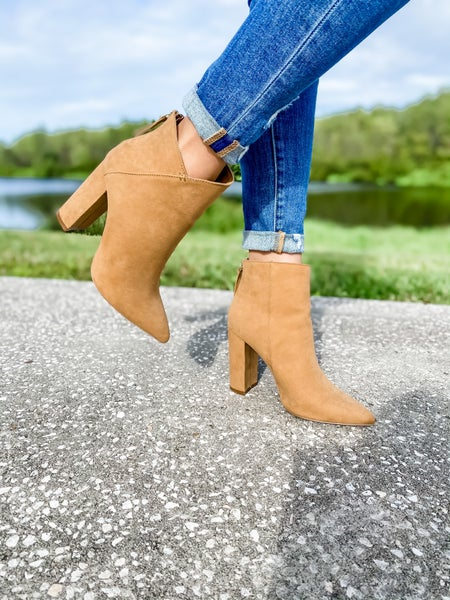 Butterscotch Suede Pointed Toe Bootie