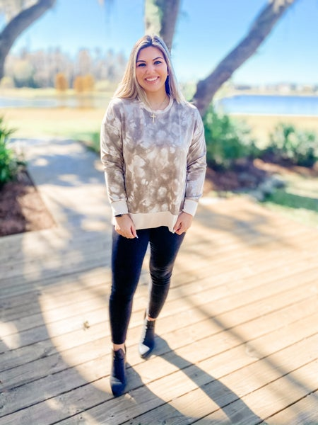 Set On You Taupe Tie-Dye Sweater