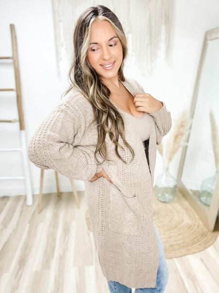Good Business Taupe Twisted Knit Cardigan