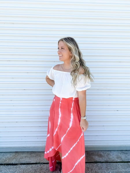 Feeling Bubbly Off The Shoulder Coral Tie Dye Maxi Dress