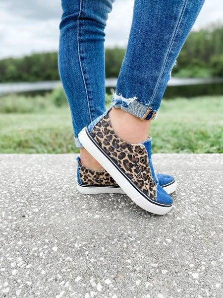 Leopard And Denim Slip On Sneaker